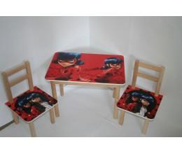 """Столик + 2 стульчика МКС 01/13 """"ТИПА ЛЕДИ БАГ"""" (600*400, ЛДСП, БУК)"""